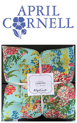 🆕APRIL CORNELL Indoor CHAIR PADS/Pillows 2 PC Turquoise Floral Dining Kitchen🌸