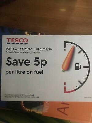 Tesco 5p Off Per Litre Fuel/Petrol Coupon/Voucher expires 01/03/20
