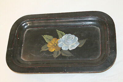 Small Antique Wooden Tray Hand Painted Flowers 13X8