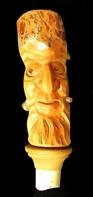 "Hand-Carved Wood 5.5"" Tree Spirit Face Decanter Bottle Cork Stopper"