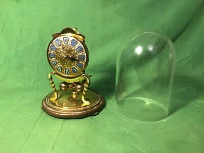 Vintage Kieninger Obergfell Kundo Carriage Anniversary Clock with Glass Dome