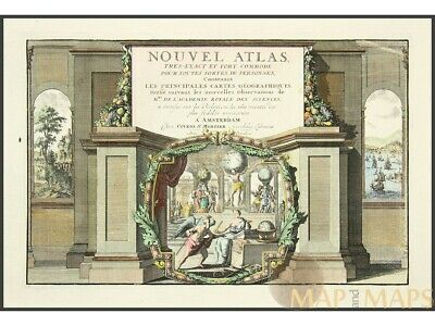 Nouvel atlas title page Old  atlas page Covens & Mortier 1714