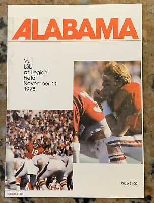 "1978 Alabama vs LSU Football Program Cover 4.25"" X 6"" Postcard Reproduction"
