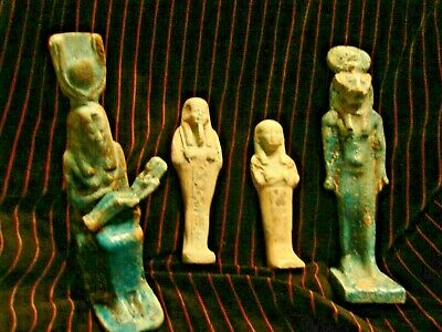 Ancient Egyptian very rare Wet Nurse and Shabti , God Sekhmet lot 4 pieces