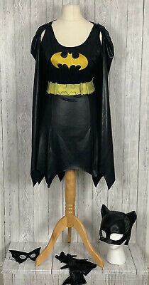 LADIES BATGIRL OUTFIT M? Dress With Attached Cape Head & Eye Mask Belt Armlettes