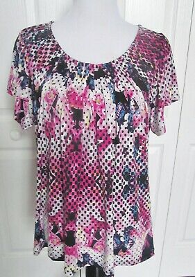 Style & Co  Size Extra Large  Women's Top Blouse Pink Blue White Print Short Slv
