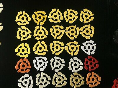 27 Plastic Adapters for 45 RPM records red yellow blue orange white