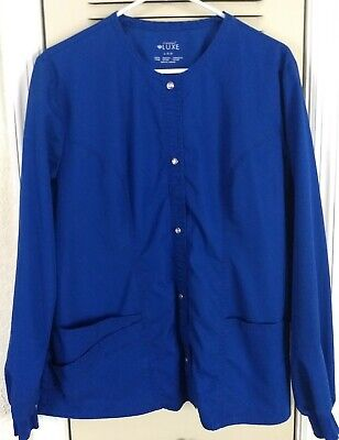 GUC Royal Blue Cherokee Scrubs LUXE Snap Front Warm Up Jacket 1330 Sz Large