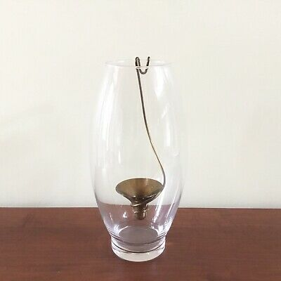 Mid Century Modern Glass and Brass Candle Holder RARE VINTAGE