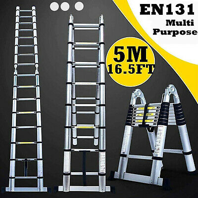 Heavy Duty 5M 16.5 FT Folding Collapsible Telescopic Extension Ladder Aluminum