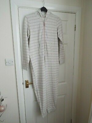 Girl's M&S Hooded Onesy in Oatmeal with Pink Stripe  Age 15-16 Years  Never Worn