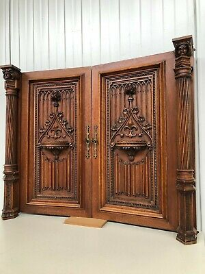 Exceptional Pair of Carved Gothic doors with faces