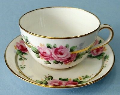 HAMMERSLEY & Co. Tea Cup and Saucer Pink Flowers Gold Trim #14130