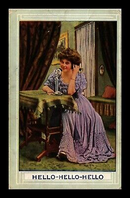 Dr Jim Stamps Us Woman On Phone Old Greeting Postcard 1909