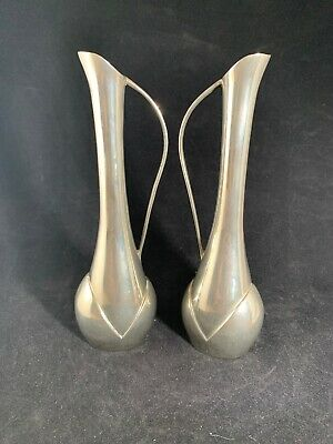 "Pair of Art Deco Style Silver Plated Bud Vases Labelled ""Largentiere Italy"""