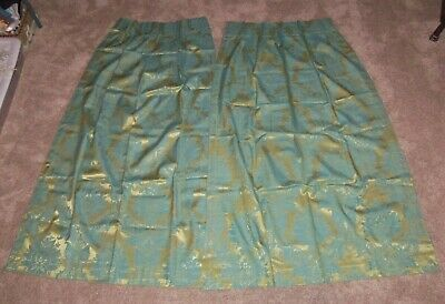 "Vintage MCM Gold Blue Floral Medallion Lined Drapes Pinch Pleat 26"" x 62"" Pair"