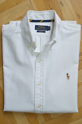 Polo Ralph Lauren Mens Slim Fit Long Sleeved Oxford Shirt Size M White Cream Top