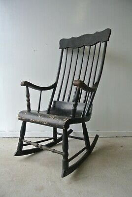 19th Century Antique American Black-Painted Spindle Back Rocking Armchair c.1840