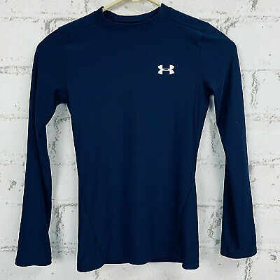 Under Armour Youth Fitted Heat Gear Long Sleeve Shirt Navy Blue Size Medium