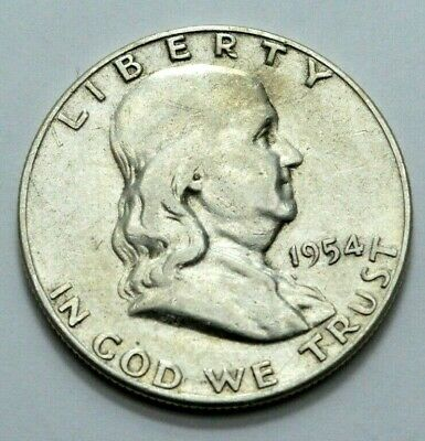 1954 - S  Franklin Half Dollar US COIN 90% silver 50c ! No Reserve Price !