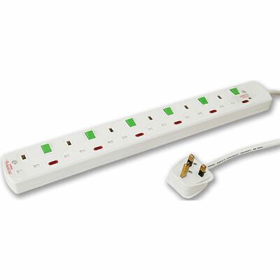 Tacima TC416/BP 6 Way 2 m Switched Surge Protector Lead