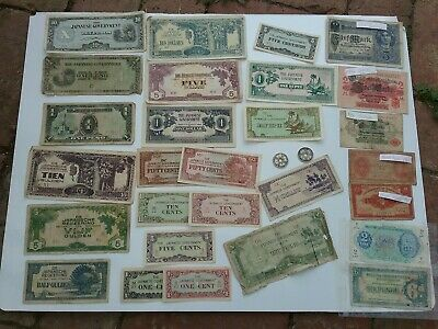 WWII Japanese invasion money , Military payments. Coins, German ww1 notes etc