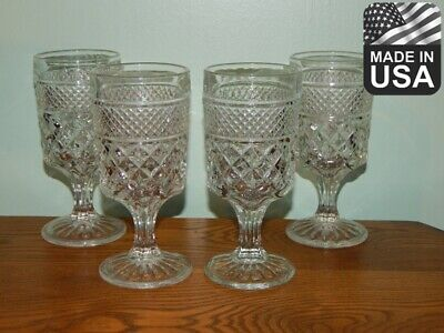 """4 Wexford Anchor Hocking Glass goblets 6 5/8"""" Made in USA water wine drinking"""