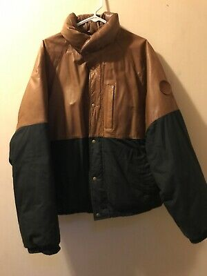 XL Polo By Ralph Lauren 100% Genuine Leather Suede Black Tan Mens Jacket Coat