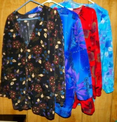 Lot of 4 Cherokee Longsleeve Scrub Jackets Womens Size M Multi-Colored polyester