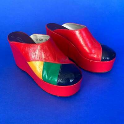 7 1/2 | 70's Vintage Flirtations Red Yellow Blue and Green Platform Shoes