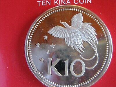 Papua New Guinea 1975 10 Kina Sterling Silver Proof! Bird of Paradise, gift box!