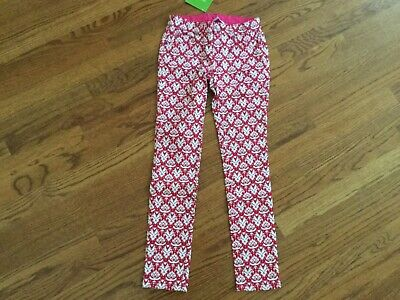 NWT Garnet Hill Girls 8 Pink White Graphic Skinny Pants Jeans