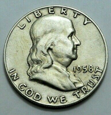1958-D Franklin Half Dollar US COIN 90% silver 50c ,  No Reserve Price !
