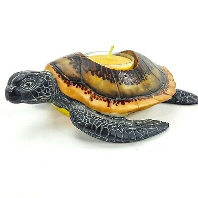 "Sea Turtle Tortoise Tealight Candle Holder 6"" Resin Figurine ZGallerie"