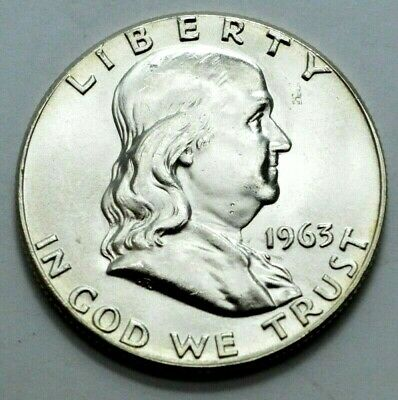1963-P UNC Franklin Half Dollar US COIN Silver 50c, Better Date, No Reserve !