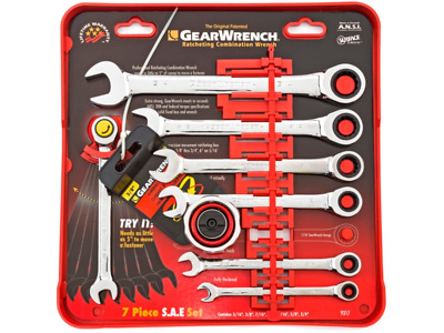 Gear Wrench 7 Pc Sae Ratcheting Combination Wrench Set 9317P New