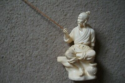 Vintage Ivory Colored Resin Chinese Fisherman