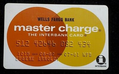 Wells Fargo Bank Master Charge credit card exp 1980♡Free Shipping♡cc860