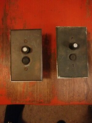 2 Vtg  Antique Porcelain Push Button Light Switch  Brass Cover architectural