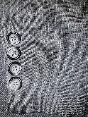 Mens Size 36R 31x29 Flat Front Pant Gray Striped Two Button Three Piece Suit GUC