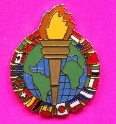 1996 Olympic Pin Torch With Flags Of The World Globe Pin 2020 Olympic Trader Pin