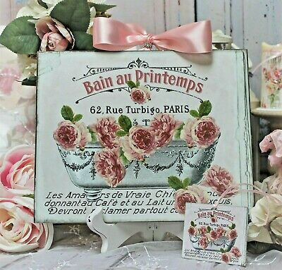 "Shabby Chic Vintage French Country Cottage style Wall Decor Sign ""French Bath"""