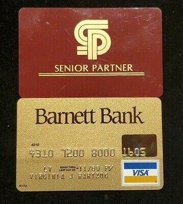 Barnett Bank Gold Visa  exp 1989♡Free Shipping♡ cc724 rare one of a kind match