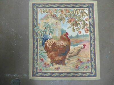 3' X 3' Vintage TAPESTRY American Machine Made ROOSTER