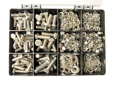 Assorted M6 M8 Metric A4-316 Stainless Steel Hex Set Screw Bolts Nuts 350pcs