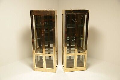 A Pair of Vintage Brass Display Cabinets by Mastercraft USA mid-century