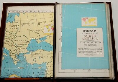 Hammond's Faux Leather Book of (8) Maps of the World Book By Vitronic VINTAGE