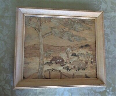 Lovely H/crafted Bark Timber Framed Picture *Rural Country Farm *Australiana