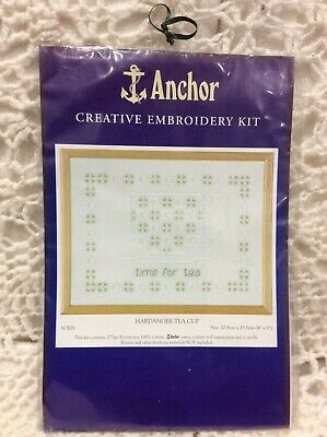 Hardanger Tea Cup Anchor Embroidery Kit Cotton Thread Hobby Craft Stitch Sew