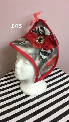 Red & Black & White Headpiece Fascinator Wedding Races